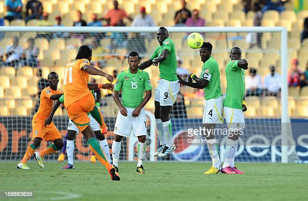 Didier Drogba of Ivory Coast takes a free kick during the 2013 Orange African Cup of Nations match between Ivory Coast and Togo at Royal Bafokeng...