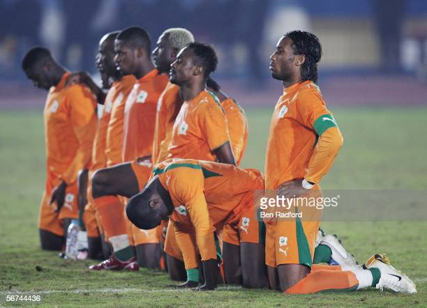 Didier Drogba of Ivory Coast wait during penalties with his team mates during The African Cup of Nations, Quarter Final match between Cameroon v...