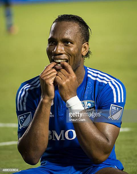 Didier Drogba of Montreal Impact makes faces to the crowd after missing a shot on goal during Los Angeles Galaxy's MLS match against Montreal Impact...