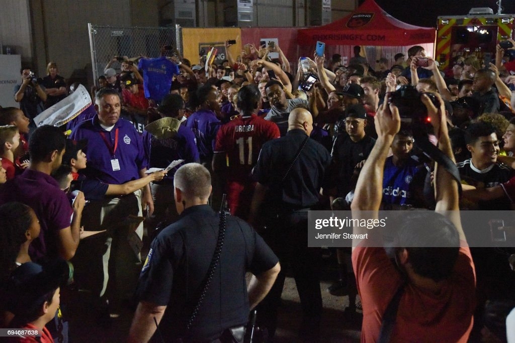Didier Drogba #11 of Phoenix Rising FC exits the game against the Vancouver Whitecaps II through fans at Phoenix Rising Soccer Complex on June 10, 2017 in Phoenix, Arizona. The Phoenix Rising FC won 2-1.