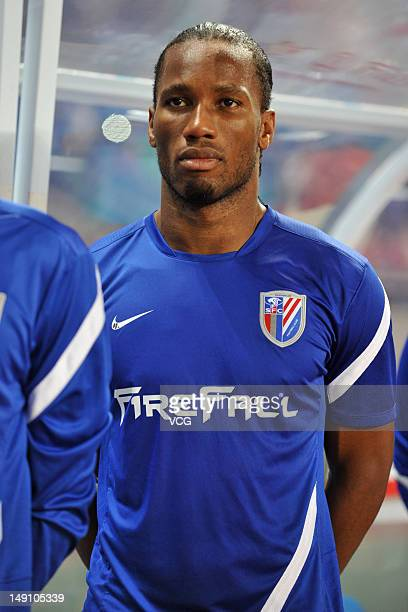 Didier Drogba of Shanghai Shenhua looks on during the Chinese FA Cup match between Guangzhou RF and Shanghai Shenhua at Guangzhou University City...