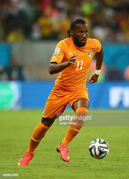 Didier Drogba of the Ivory Coast controls the ball during the 2014 FIFA World Cup Brazil Group C match between the Ivory Coast and Japan at Arena...