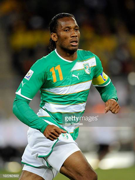 Didier Drogba of the Ivory Coast during the 2010 FIFA World Cup South Africa Group G match between Brazil and Ivory Coast at Soccer City Stadium on...