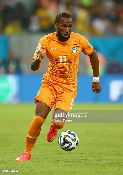Didier Drogba of the Ivory Coast during the 2014 FIFA World Cup Brazil Group C match between the Ivory Coast and Japan at Arena Pernambuco on June...