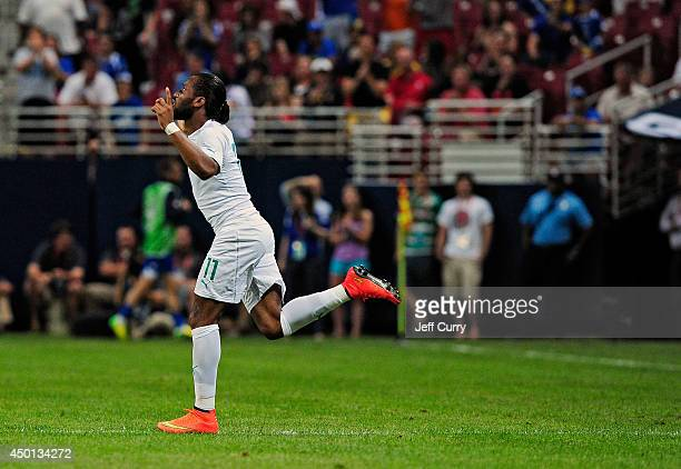 Didier Drogba of the Ivory Coast enters the game during the second half of a friendly match against Ivory Coast at Edward Jones Dome on May 30, 2014...