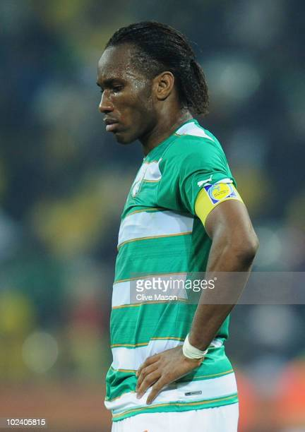 Didier Drogba of the Ivory Coast looks on during the 2010 FIFA World Cup South Africa Group G match between North Korea and Ivory Coast at the...