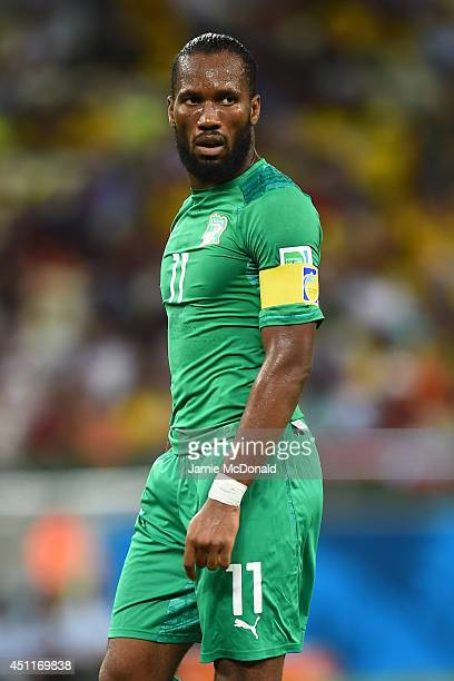 Didier Drogba of the Ivory Coast looks on during the 2014 FIFA World Cup Brazil Group C match between Greece and the Ivory Coast at Castelao on June...