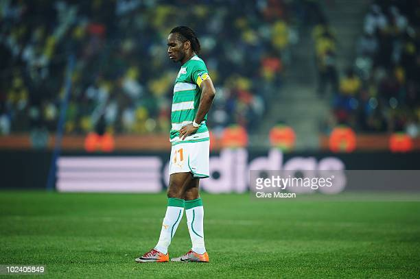 Didier Drogba of the Ivory Coast looks thoughtful during the 2010 FIFA World Cup South Africa Group G match between North Korea and Ivory Coast at...