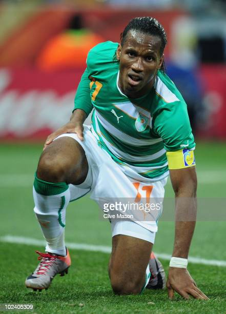 Didier Drogba of the Ivory Coast picks himself up from the pitch during the 2010 FIFA World Cup South Africa Group G match between North Korea and...