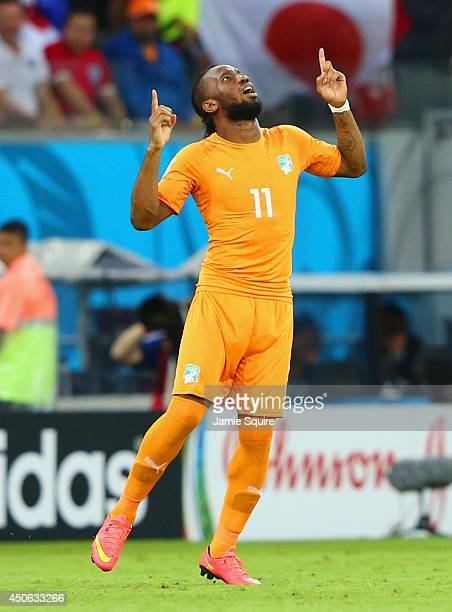 Didier Drogba of the Ivory Coast reacts as he enters the game during the 2014 FIFA World Cup Brazil Group C match between the Ivory Coast and Japan...