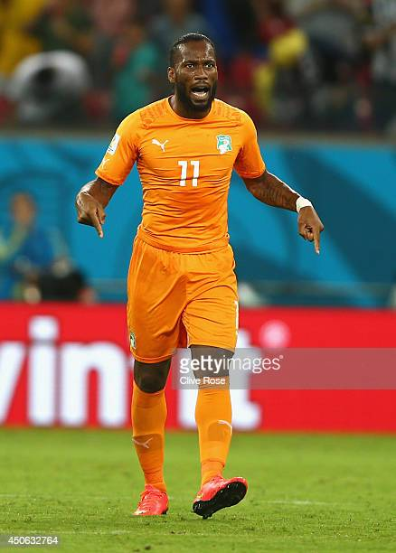 Didier Drogba of the Ivory Coast reacts during the 2014 FIFA World Cup Brazil Group C match between the Ivory Coast and Japan at Arena Pernambuco on...