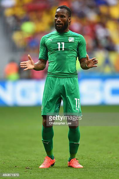 Didier Drogba of the Ivory Coast reacts during the 2014 FIFA World Cup Brazil Group C match between Colombia and Cote D'Ivoire at Estadio Nacional on...
