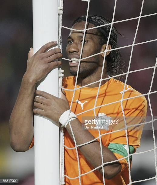 Didier Drogba of the Ivory Coast shows his frustration after missing an easy chance during The African Cup of Nations Final between Egypt and the...
