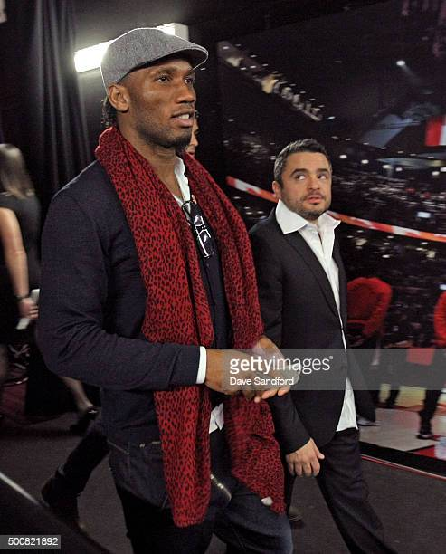 Didier Drogba of the Montreal Impact attends the game between the Golden State Warriors and Toronto Raptors on December 5 2015 at Air Canada Centre...