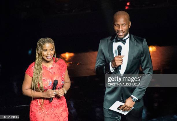 Didier Drogba Phoenix Rising FC player and former Confederation of African Football player of the year addresses the audience at The CAF 2017 Awards...