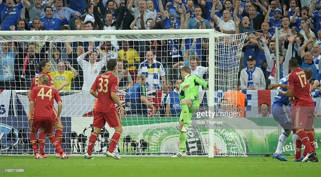 Didier Drogba (out of picture) scores Chelsea's goal during the UEFA Champions League Final between FC Bayern Munich and Chelsea at the Fussball Arena Munich on May 19, 2012 in Munich, Germany. The match ended 1-1 after extra time, Chelsea won 4-3 on penalties.