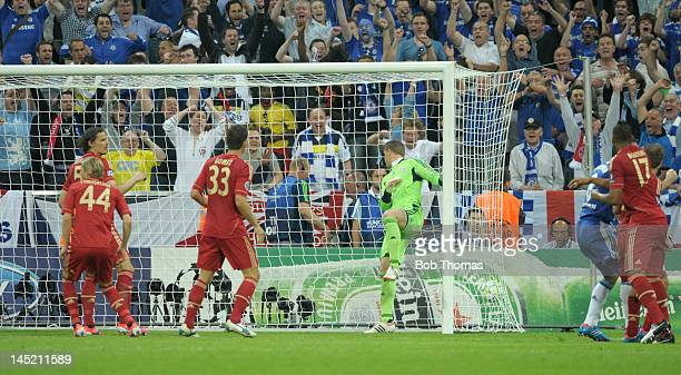 Didier Drogba scores Chelsea's goal during the UEFA Champions League Final between FC Bayern Munich and Chelsea at the Fussball Arena Munich on May...