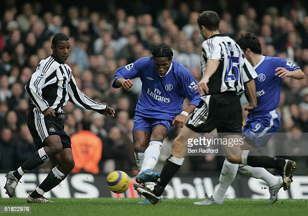 Didier Drogba scores Chelsea's second goal during the Barclays Premiership match between Chelsea and Newcastle United at Stamford Bridge on December...