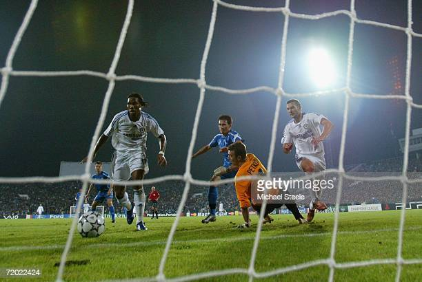 Didier Drogba scores his hatrick and Chelsea's third goal during the UEFA Champions League Group A match between Levski Sofia and Chelsea at Stadium...
