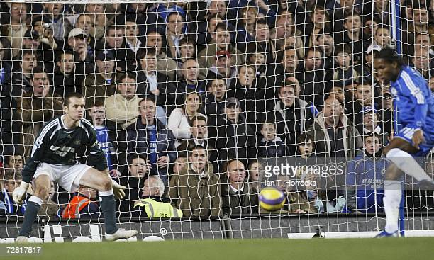 Didier Drogba scores the only goal of the match during the Barclays Premiership match between Chelsea and Newcastle United at Stamford Bridge on...