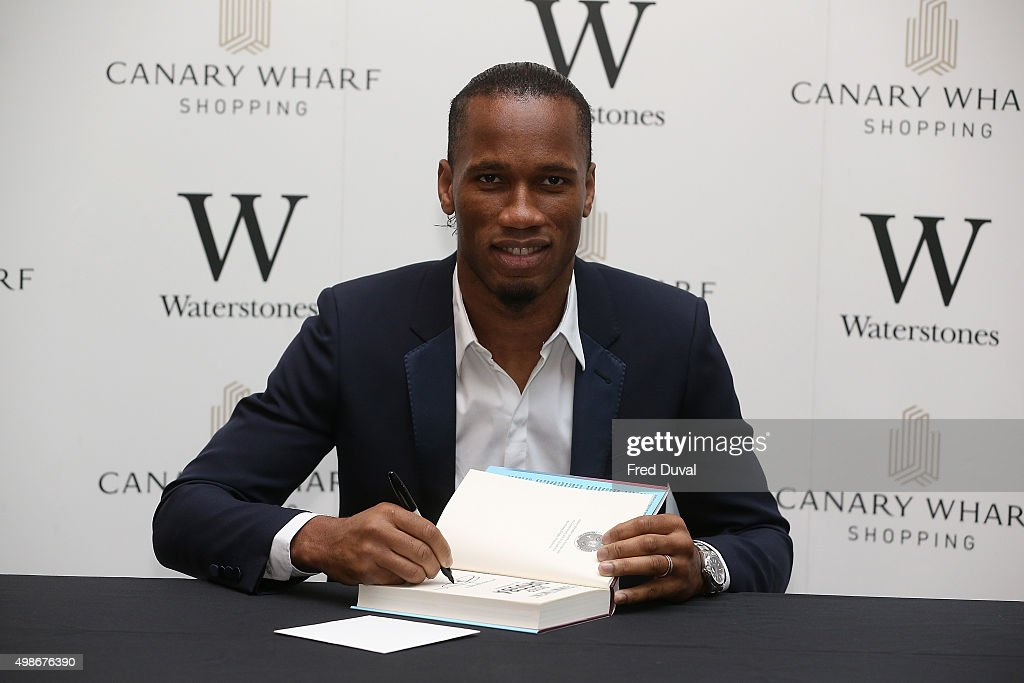 Didier Drogba signs copies of his book 'Commitment' at Waterstones Canary Wharf on November 25, 2015 in London, England.