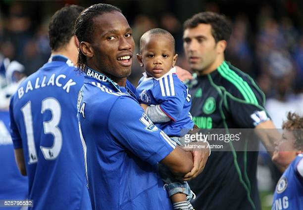 Didier Drogba with his little boy