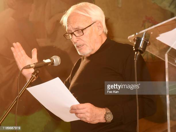 Didier Flamand reads a poem during Poesie En Liberté 2019 Awards Ceremony At Mairie Du 5eme on November 23 2019 in Paris France
