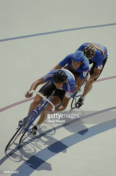 Didier Garcia of France leads Stefano Allocchio of Italy and Roger Ilegems of Belgium during the Men's Points Raceon 3rd August 1984 during the XXIII...
