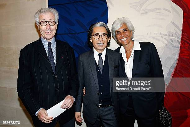 Didier Grumbach Kenzo Takada and Linda Pinto attend Kenzo Takada Is Honoured With The Insignes of Chevalier De La Legion D'Honneur at Conseil...