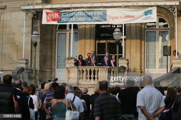 Didier Guillaume the mayor of ChoisyleRoi in the South of Paris speaks to the residents of this city during a demonstration on September 18 against...