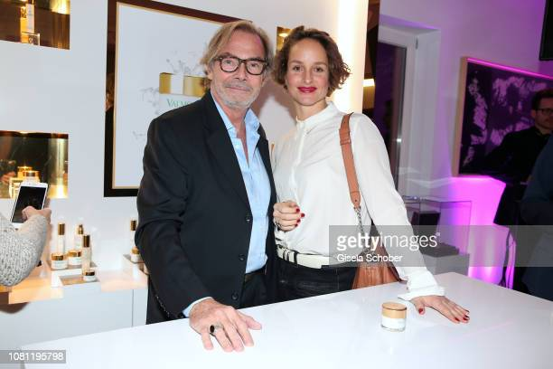Didier Guillon founder and CEO Valmont Group and Valmont Foundation and Lara Joy Koerner during the La Maison Valmont opening on January 11 2019 in...