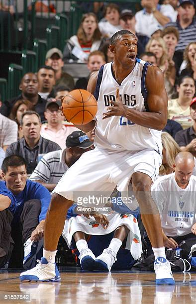 Didier IlungaMbenga of the Dallas Mavericks looks to pass the ball against the New York Knicks on October 21 2004 at the American Airlines Center in...