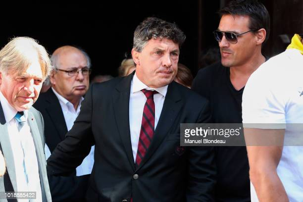 Didier Lacroix is seen at the burial of Pierre Camou in Saint Jean Pied de Port during the Funeral of former rugby player Pierre Camou on August 18...