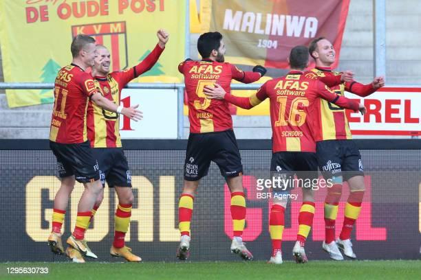 Didier Lamkel Ze of Royal Antwerp FC, Lior Refaelov of Royal Antwerp FC, Birger Verstraete of Royal Antwerp FC, Pieter Gerkens of Royal Antwerp FC,...