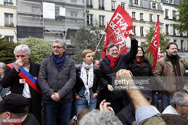Didier Le Reste head of the left wing CGT union workers at the French staterun SNCF railway company Communist Party National Secretary Pierre Laurent...