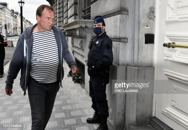 Didier Lebbe of the CNE union arrives for a meeting of the Brussels Airlines unions with the Prime Minister after an Extraordinary Works Council of...