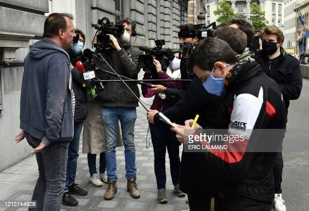 Didier Lebbe of the CNE union talks to the press as he arrives for a meeting of the Brussels Airlines unions with the Prime Minister after an...