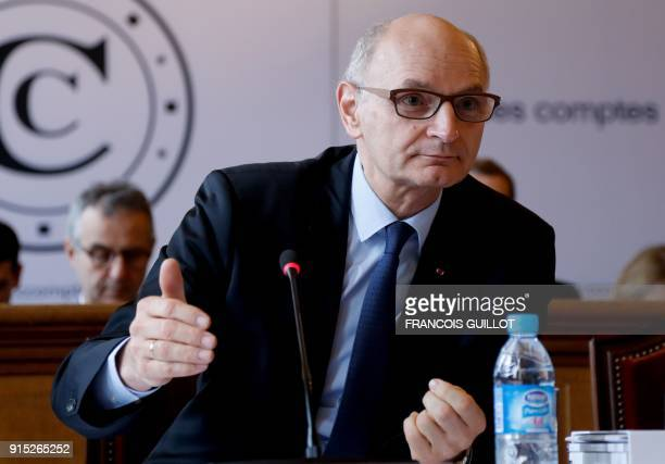 Didier Migaud president of the Court of Auditors presents the court's 2018 annual public report during a press conference in Paris on February 8 2017...