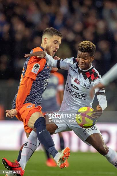 Didier Ndong of Guingamp and Mihailo Ristic of Montpellier challenge for the ball during the Montpellier V Guingamp French Ligue 1 regular season...