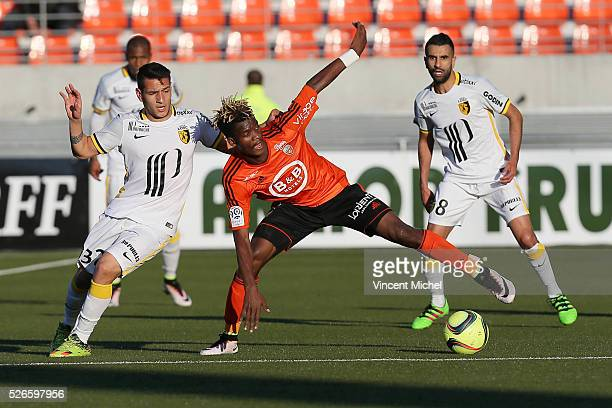 Didier Ndong of Lorient and Ronny Lopes of Lille during the French Ligue 1 match between Fc Lorient and Lille OSC at Stade du Moustoir on April 30,...