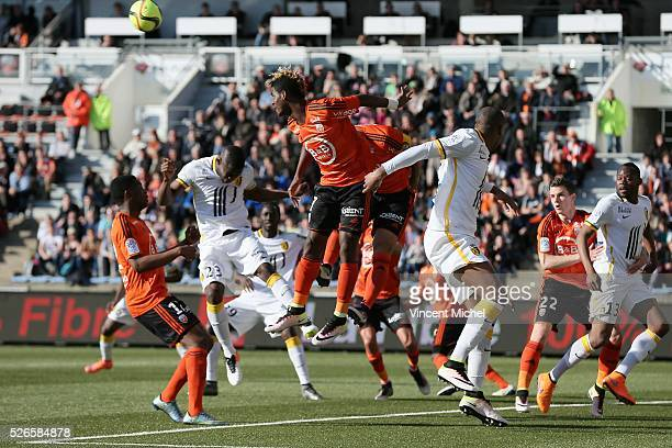 Didier NDong of Lorient during the French Ligue 1 match between Fc Lorient and Lille OSC at Stade du Moustoir on April 30 2016 in Lorient France