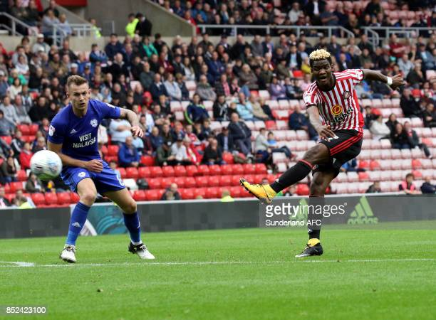 Didier N'Dong of Sunderland has a shot during the Sky Bet Championship match between Sunderland and Cardiff City at Stadium of Light on September 23...