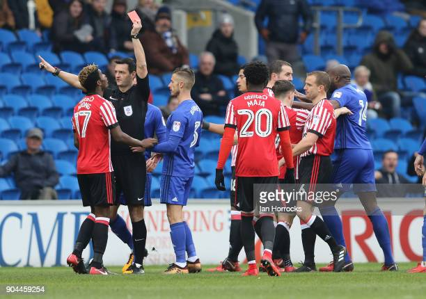 Didier N'Dong of Sunderland is sent off during the Sky Bet Championship match between Cardiff City and Sunderland at Cardiff City Stadium on January...