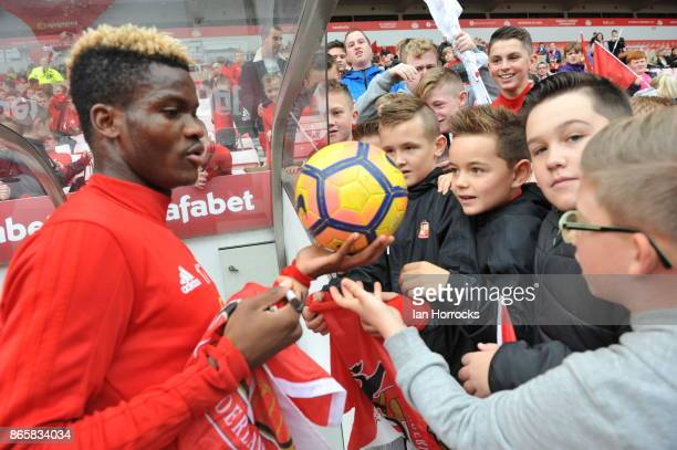 Didier N'Dong signs autographs for fans during a fans festival at The Stadium of Light on October 23 2017 in Sunderland England