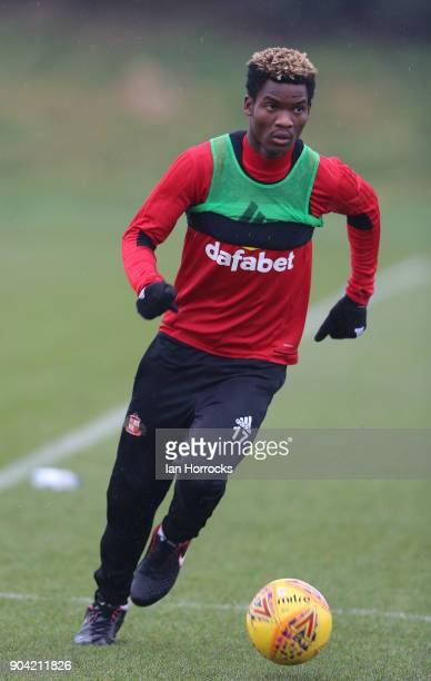 Didier N'Dong warms up during a SAFC training session at The Academy of Light on October 10 2017 in Sunderland England