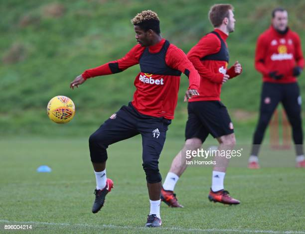 Didier N'Dong warms up during a Sunderland AFC training session at The Academy of Light on December 20 2017 in Sunderland England