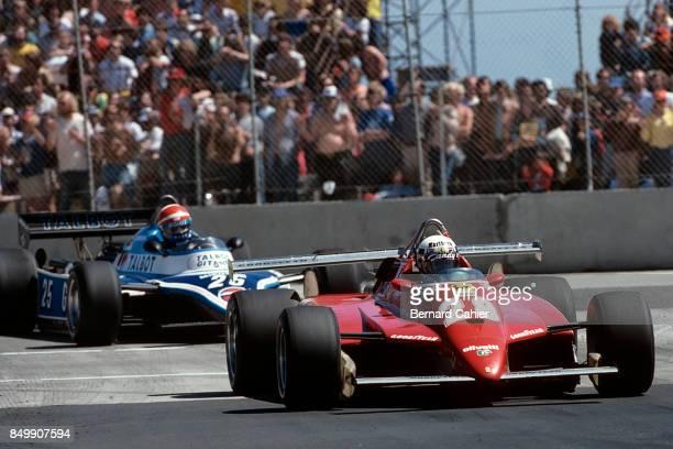 Didier Pironi, Eddie Cheever, Ferrari 126C2, Ligier-Matra JS17B, United States Grand Prix West, Long Beach, California, April 4, 1982.