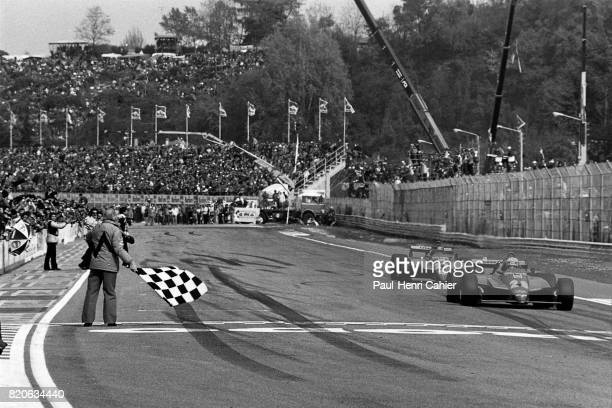 Didier Pironi Gilles Villeneuve Ferrari 126C2 Grand Prix of San Marino Imola 25 April 1982 Didier Pironi takes the flag ahead of Gilles Villeneuve