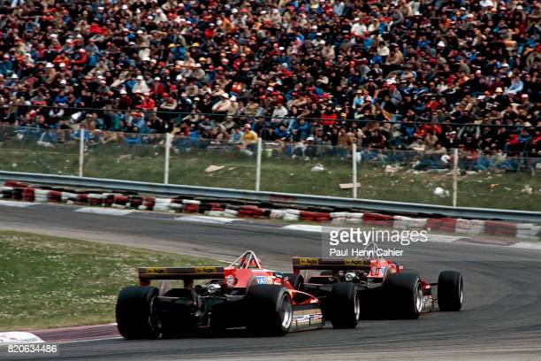 Didier Pironi Gilles Villeneuve Ferrari 126C2 Grand Prix of San Marino Imola 25 April 1982 Fierce battle between Didier Pironi and Gilles Villeneuve