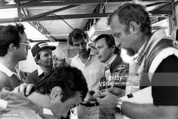 Didier Pironi, Mauro Forghieri, Harvey Postlewait, Ferrari 126C2, Grand Prix of Germany, Hockenheimring, Hockenheim, Germany, August 8, 1982. Didier...